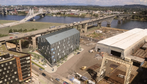 Birds eye perspective of the proposed Zidell Yards Block 4 (LEVER/ GBD)